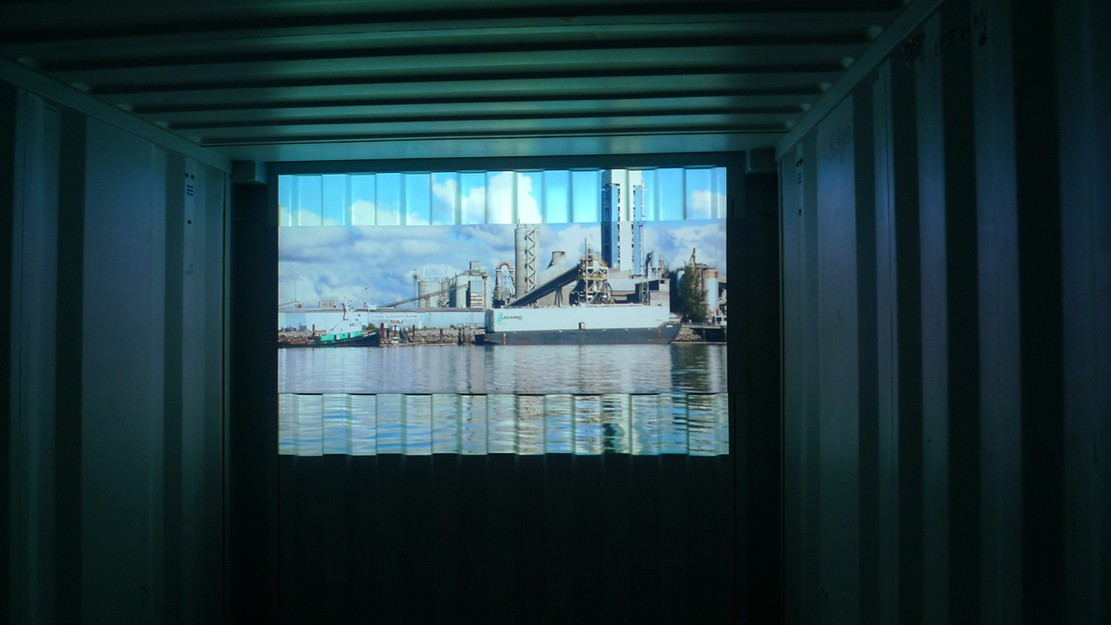 Island - Installation Shot in Shipping Container